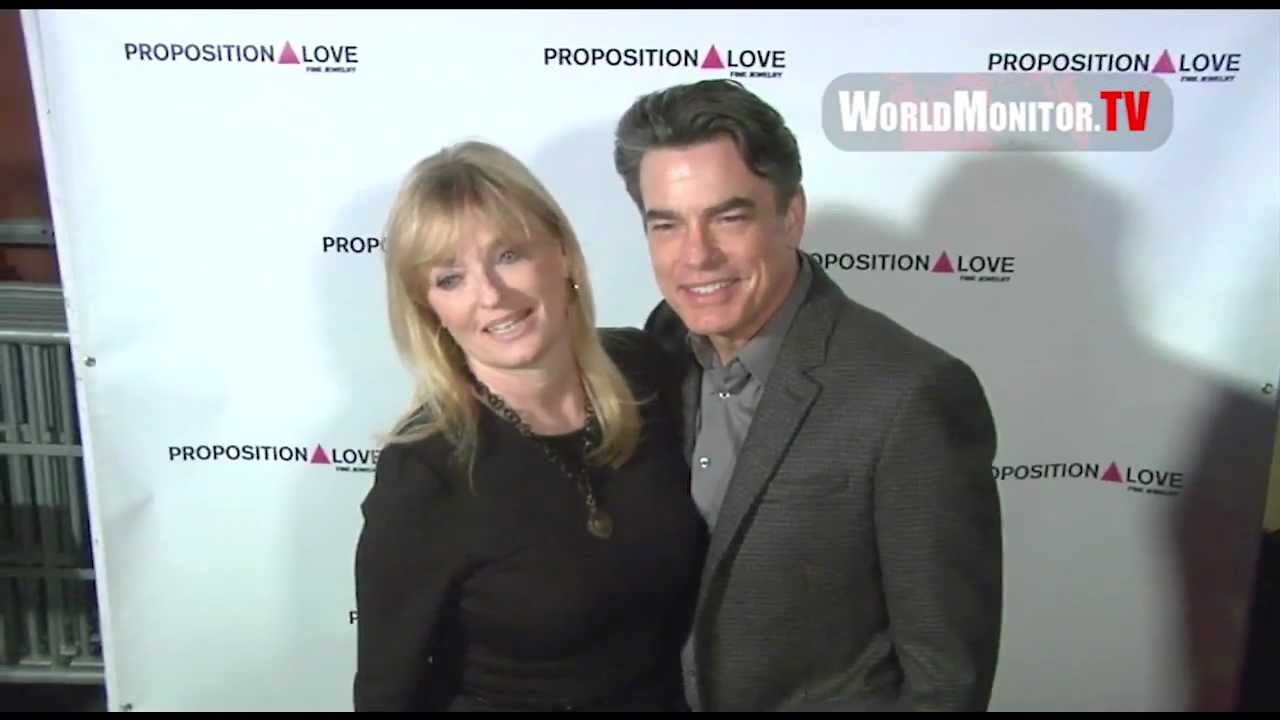 peter gallagher and wife paula wildas arrive at