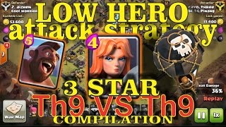 Clan War 3 Star Th9 vs Th9 Valkyrie Low Hero Attack Strategy 2016
