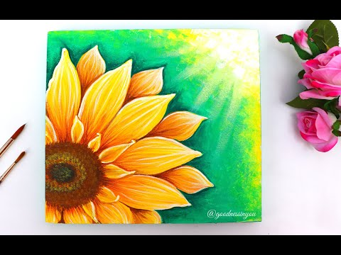 EASY Sunflower Painting for Beginners using Acrylic Colours