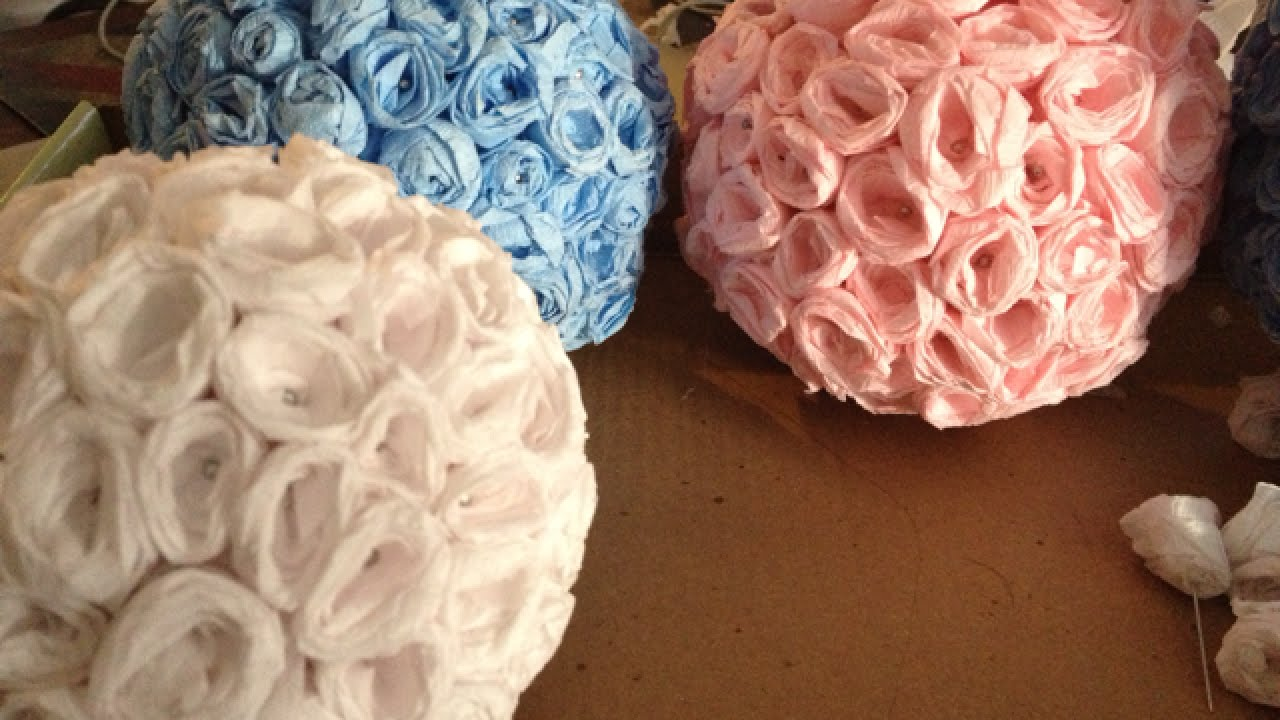 How to make elegant crepe paper flower balls diy crafts tutorial how to make elegant crepe paper flower balls diy crafts tutorial guidecentral youtube mightylinksfo