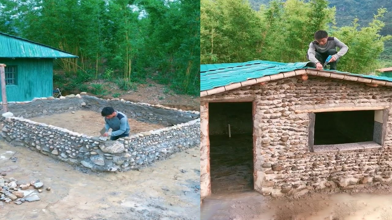 Amazing Building Rock House look Beautiful and Creative , Bushcraft