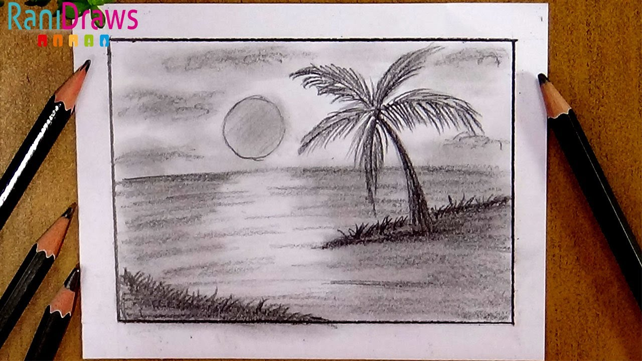 Cómo Dibujar Un Paisaje De Playa Con Lápiz Paso A Paso