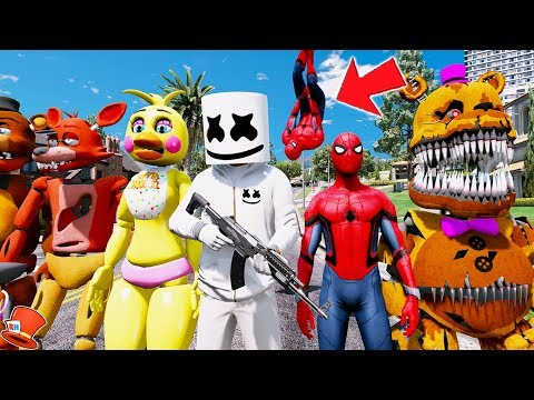 MARSHMELLO & NEW SPIDERMAN FIGHT CRIME TOGETHER! (GTA 5 Mods FNAF Kids RedHatter) thumbnail