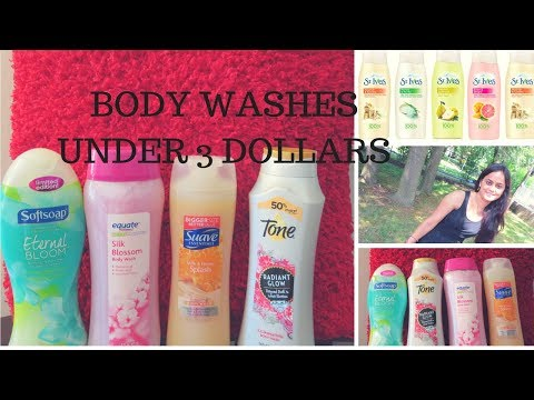 TOP 5 , THE BEST, REFRESHING, REJUVENATING BODY WASHES UNDER  3 DOLLARS/ MINI REVIEWS.