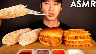 ASMR MOZZARELLA CORN DOGS & CHICKEN SANDWICH MUKBANG (No Talking) EATING SOUNDS | Zach Choi ASMR