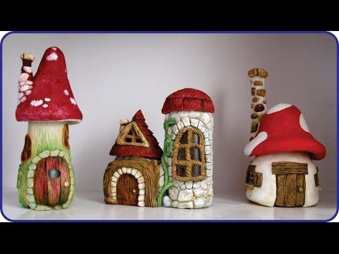 Diy Faux Stones Amp Wood Fairy House Jars Youtube