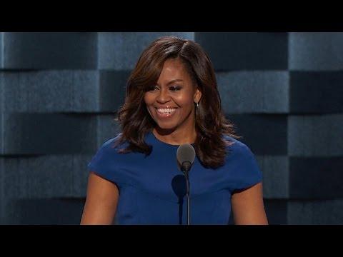 Michelle Obama addresses the DNC