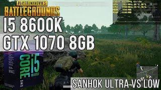 Teste - PUBG novo mapa Sanhok - I5 8600K / GTX 1070 8GB / 8GB 2400 Mhz / Ultra vs Low 144 FPS