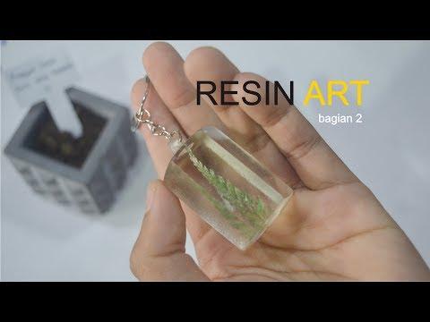 MEMBUAT GANTUNGAN KUNCI DARI RESIN BERISI DAUN (bagian 2) | Resin Art