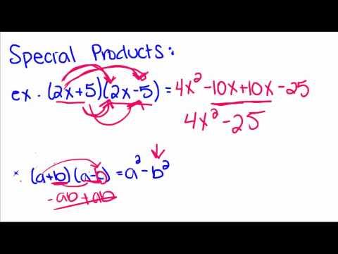 Algebra Tutorial - 17 - Special Products Of Binomials
