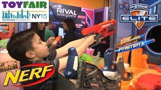 NERF BLASTERS! NY Toy Fair 2015 N-Strike Elite, MEGA RotoFury, Sling Strike, Rhino-Fire, Modulus