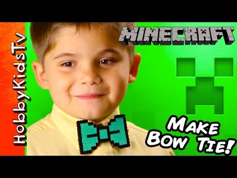 Make MINECRAFT Bow Tie! Video Gamer Gift, 8-bit Arts and Crafts Tutorial DIY HobbyKidsTV