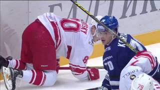 KHL Top 10 Hits for Week 10 /  Лучшие силовые приемы десятой недели КХЛ(10. Denis Khlystov (SAL) on Dmitry Kosmachyov (ADM) 9.Tommi Huhtala (JOK) on Nikolai Timashov (AVT) 8. Martins Karsums (DYN) on Anatoly Nikomntsev ..., 2015-11-06T15:55:27.000Z)