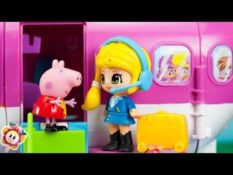 Peppa Pig et ses amis PINYPON partent en vacances d hiver ! Papa Pig a peur de voler en avion !
