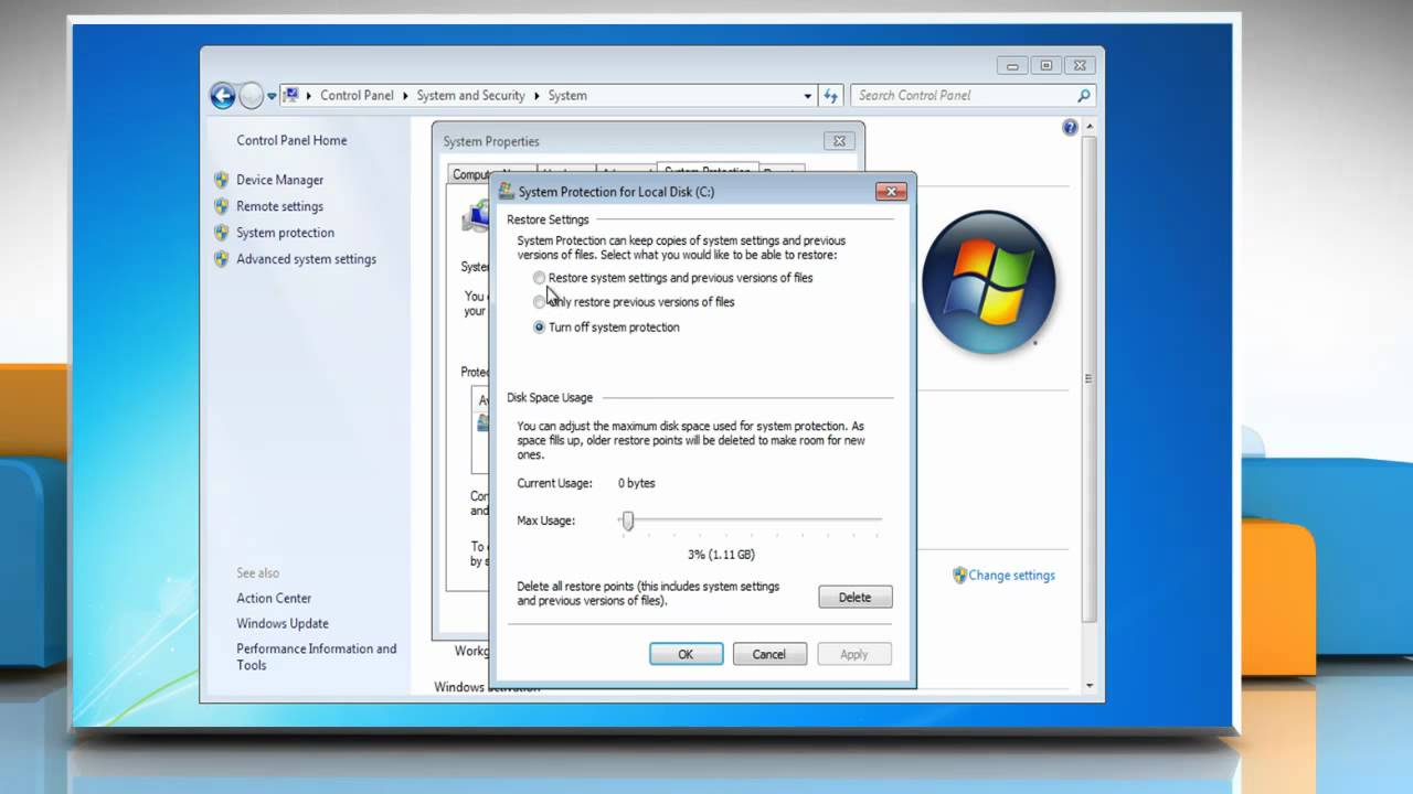 How to Turn ON System Restore in Windows® 7 - YouTube