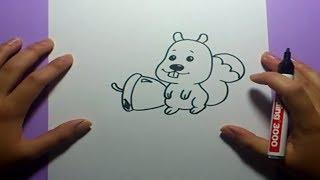 Como dibujar una ardilla paso a paso   How to draw a squirrel