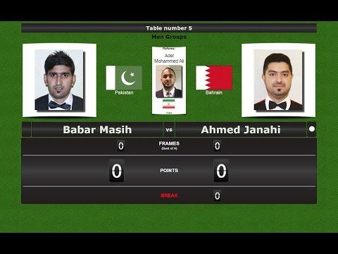 Snooker 6 reds Groups : Babar Masih vs Ahmed Janahi