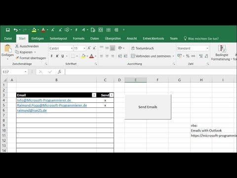 Automatisch Emails Aus Excel Heraus Versenden Mit Outlook Youtube