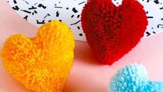 How to make heart shape pompom - heart gift for valentine | perfect shape pompom - cool and creative
