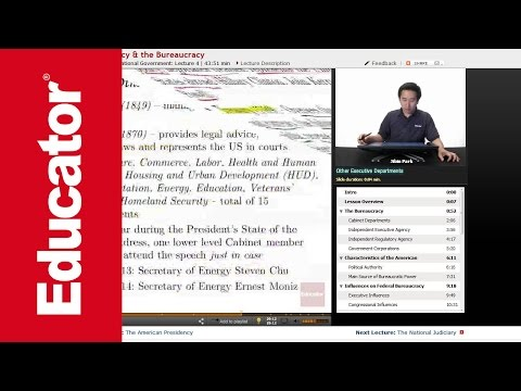 """""""The Presidency & the Bureaucracy""""   AP US Government with Educator.com"""
