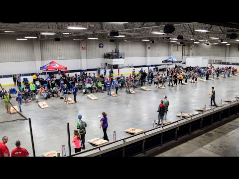 Bags fly in Wings Event Center at American Cornhole tournament