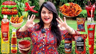 Living on RED FOOD for 24 HOURS Challenge | Food Challenge