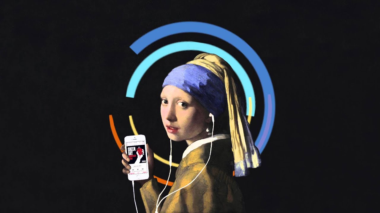 Girl With A Pearl Earringd An Iphone 5s, Jamming To Green Day By  Johanness Vermeer
