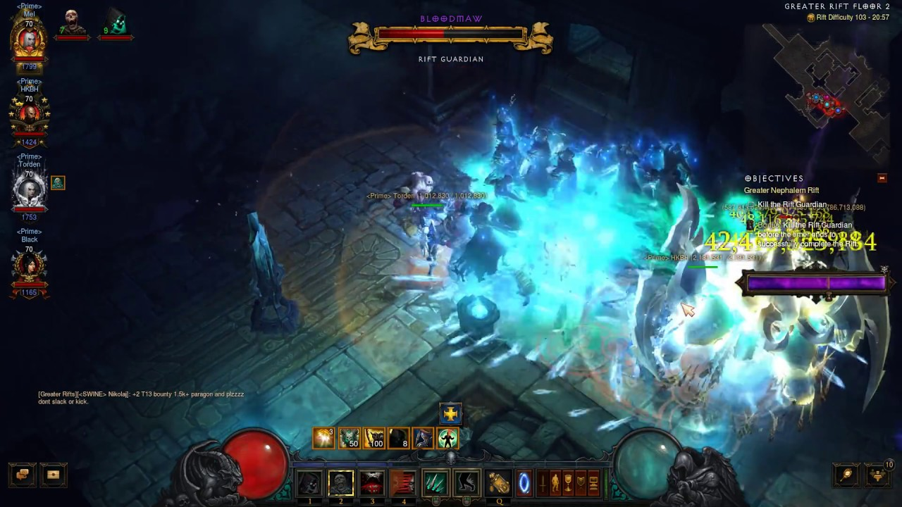 diablo 3 - a fast 103 greater rift with the clan - youtube