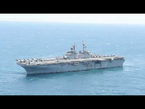 USS Boxer (LHD 4) is anchored in the Arabian Gulf during amphibious operations