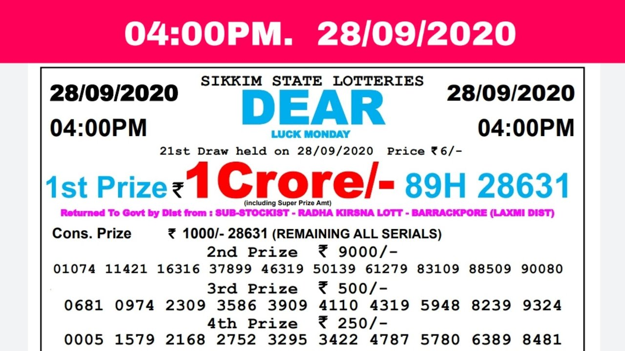 Lottery Sambad Result Live 04.00pm 28.09.20 Sikkim State Lottery Live gdn