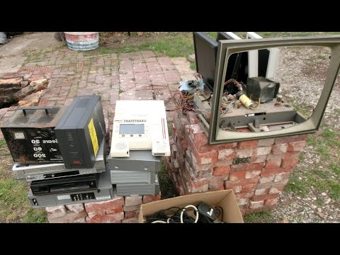 Electronics Recycling Salvage/Teardown: Vintage TV, UPS, VCRs, Charger, Portable Defibrillator, LCD
