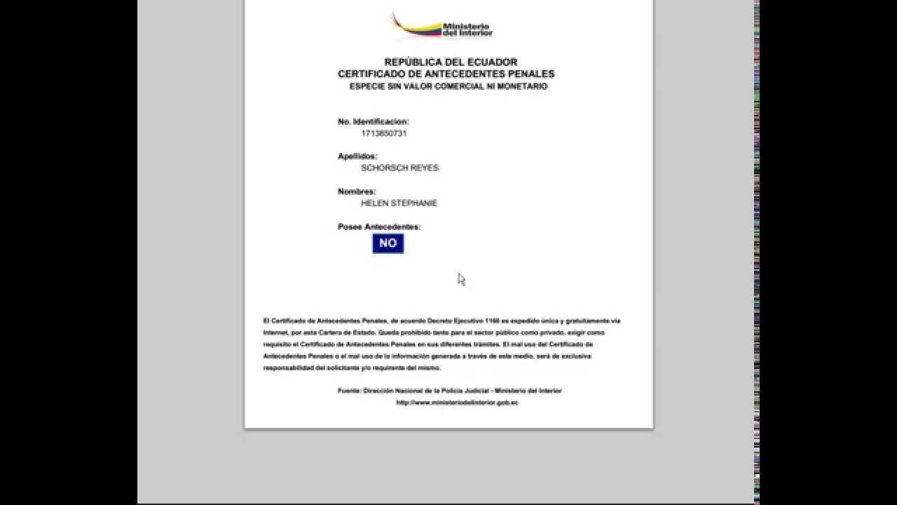 record policial certificado de antecedentes penales
