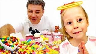 Nastya tut gute Taten und bekommt Süßigkeiten und Bonbons