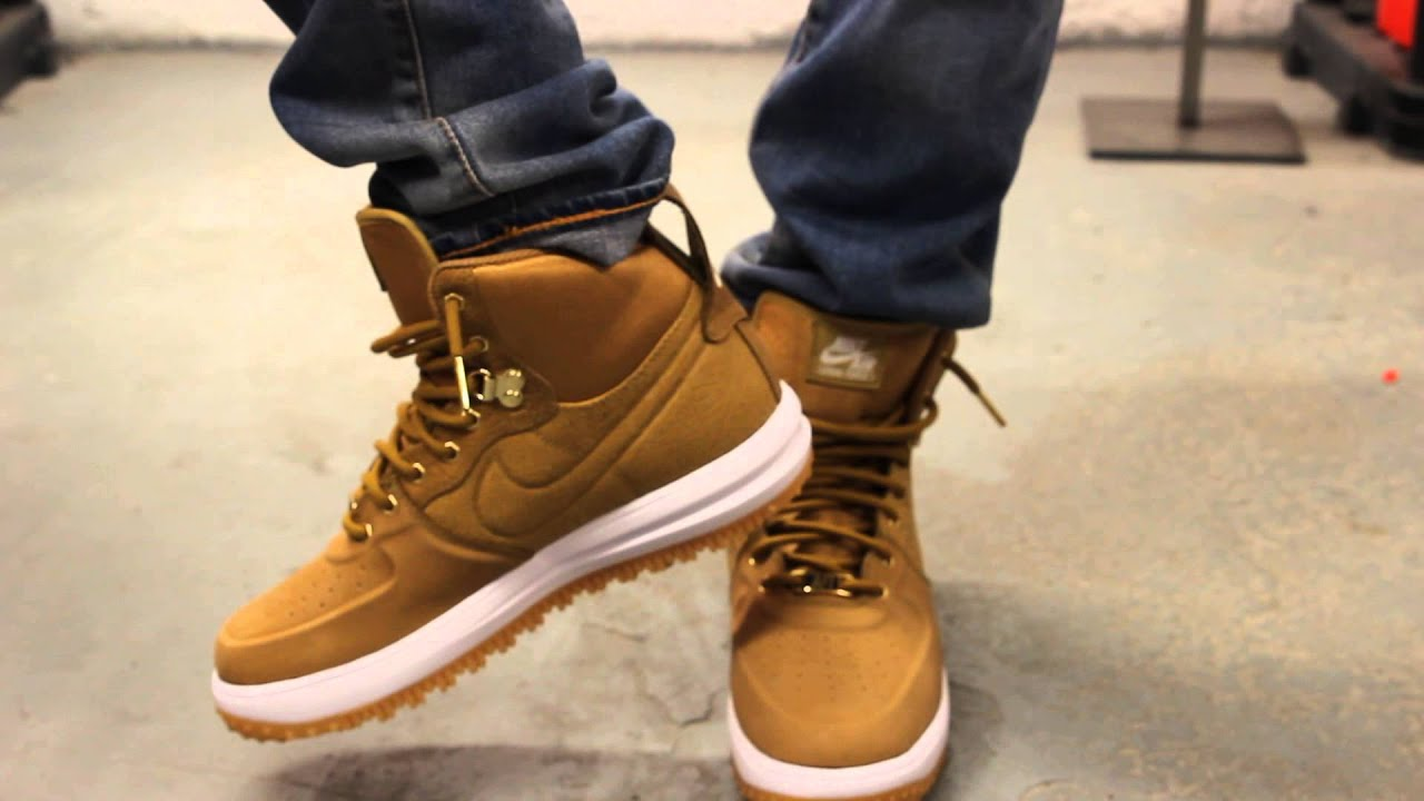 "Nike Lunar Force 1 Sneakerboot ""Wheat"" On-feet Video at Exclucity - YouTube"