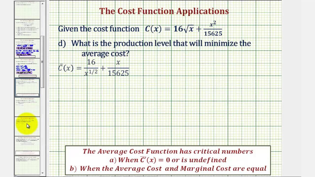 Ex 2 Cost Function Lications Marginal Average Minimum