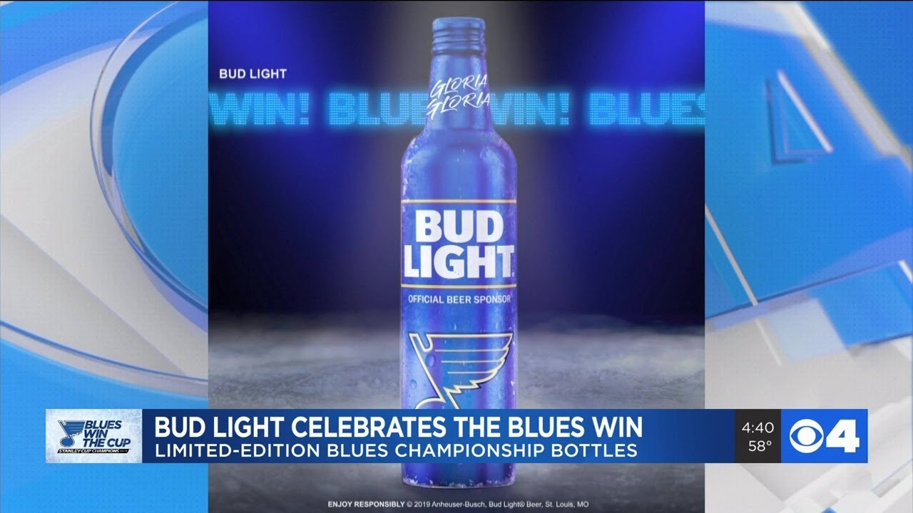 Bud Light celeberates Blues win with championship bottle