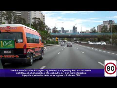 Driving Into Brisbane, Australia - The Pacific Motorway, Riverfront Expressway & M3