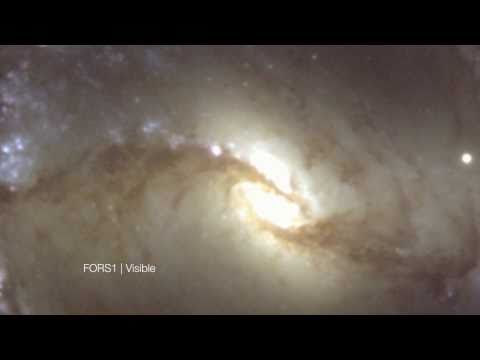 Galaxy NGC 1365 Visible/Infrared Cross-Fade [720p]