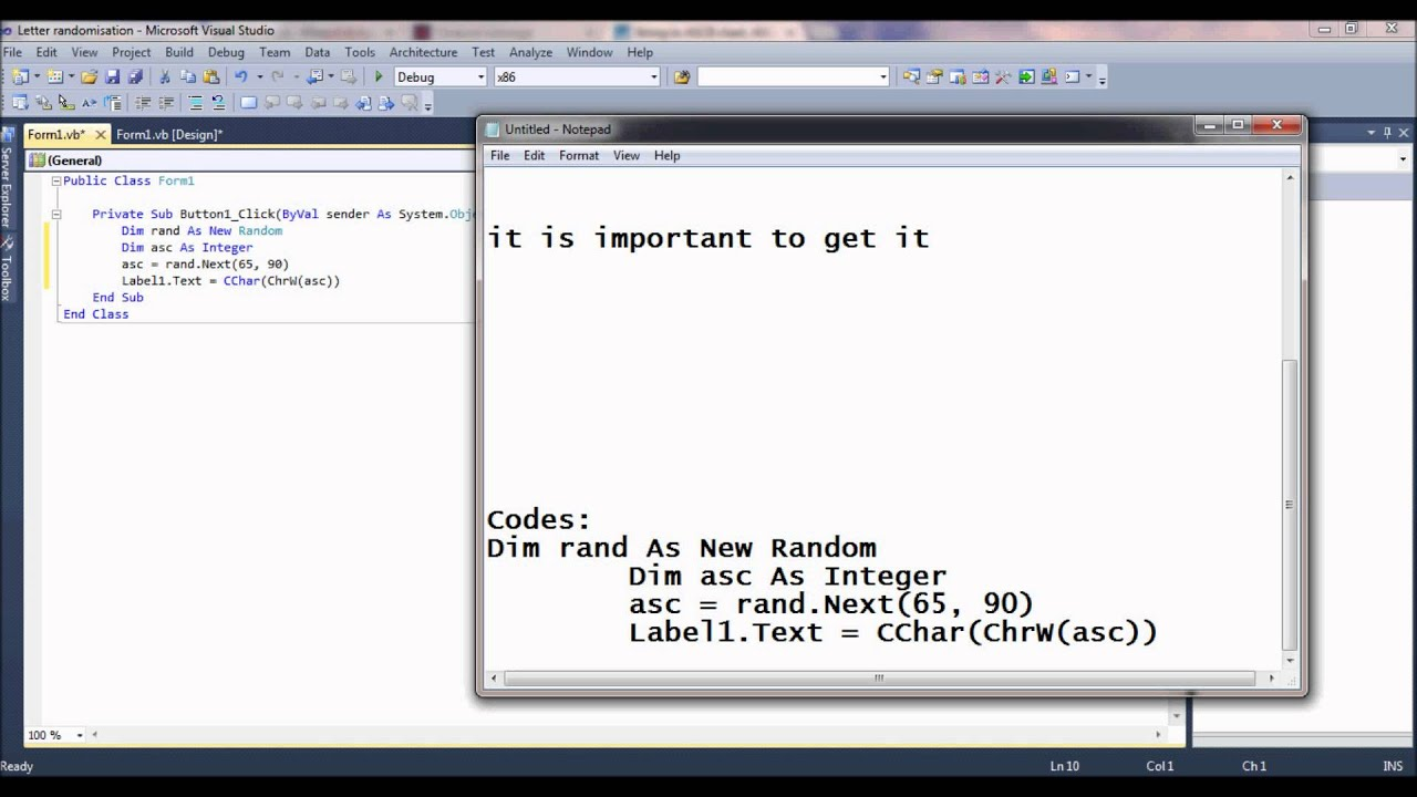 Generating random letters in VB 2010 - YouTube