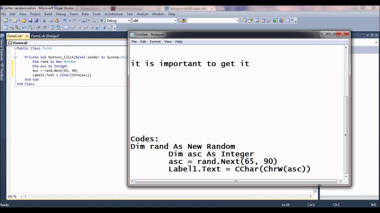 Generating random letters in VB 2010