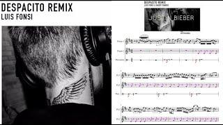 Despacito feat Justin Bieber. Partitura flauta.