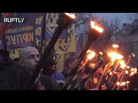 Far-right march in Lviv to honor Ukrainian Insurgent Army General Shukhevych.