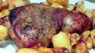 Christmas Roasted Lamb with Herbs & Sauce How to cook recipe