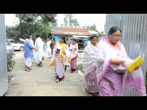 Bride's friends and relatives present gifts - Manipuri wedding