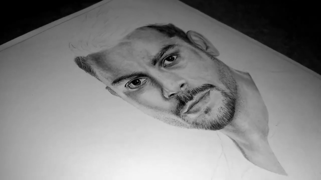 Drawing virat kohli cricketer realistic pencil portrait video hd 2017