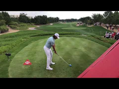 Tommy Fleetwood slo-mo drive during the 2018 Abu Dhabi HSBC Golf Championship