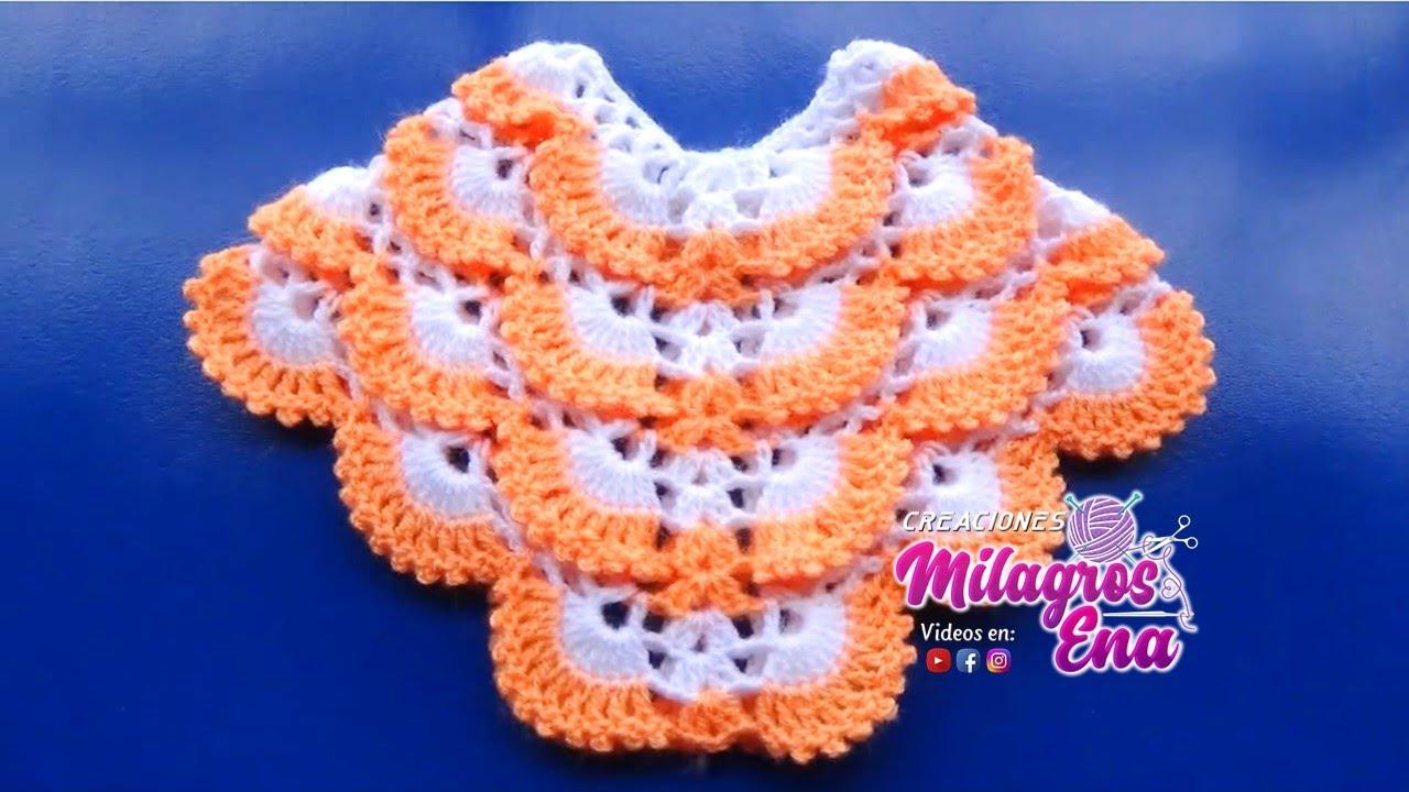 Poncho o capa de muestra a crochet tejido en punto pavo real paso a ...