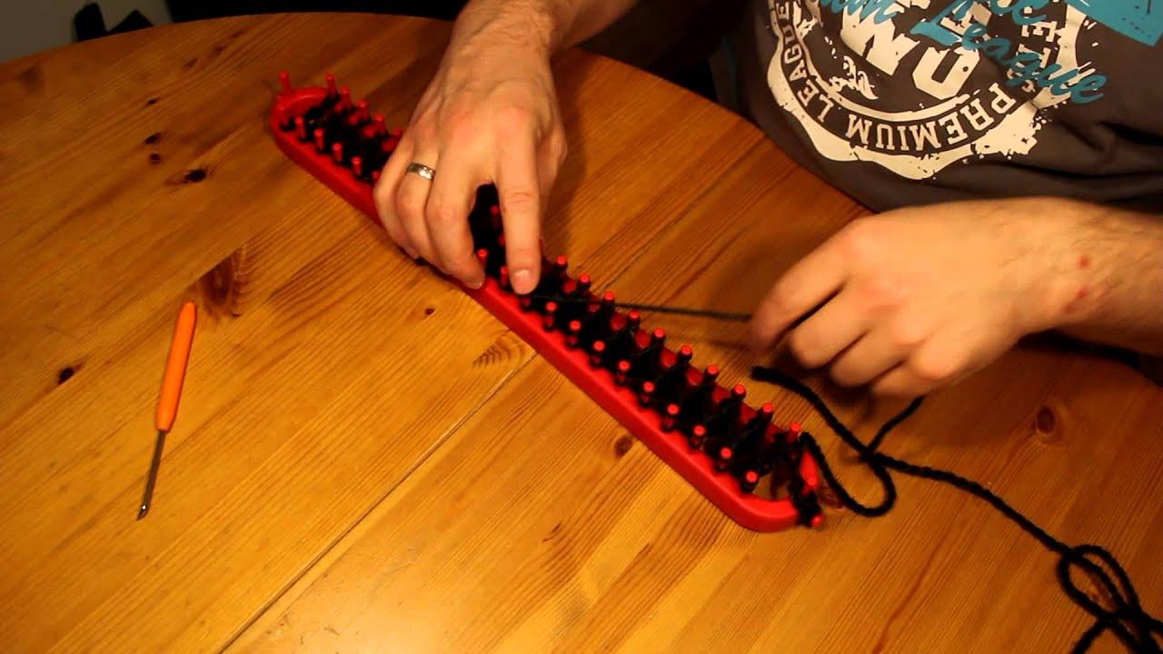 schal mit strickrahmen stricken teil 02 13 die zweite reihe youtube. Black Bedroom Furniture Sets. Home Design Ideas