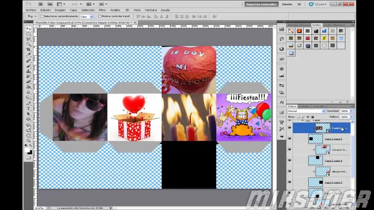 Como hacer un cubo de imagenes con Photoshop (Plantilla) + ...
