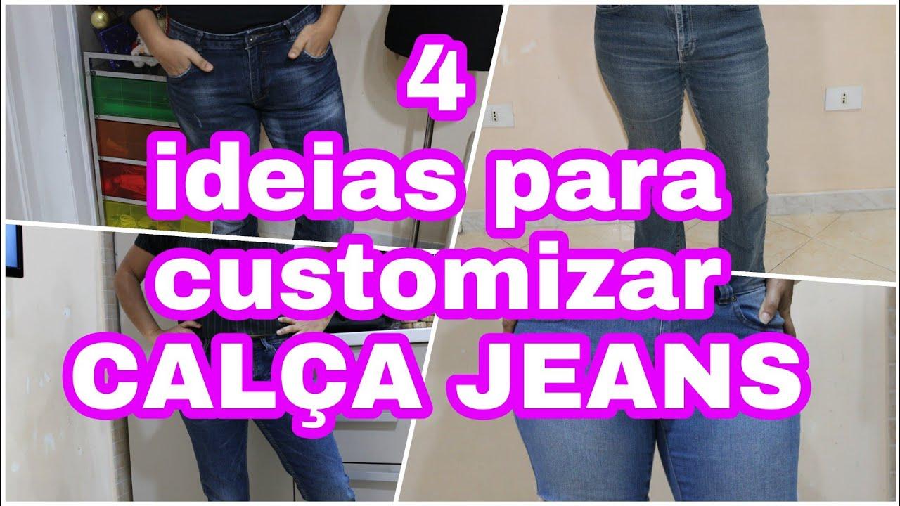 #customizaçoes 4 ideias para customizar jeans / renove seu guarda roupa / customizando calça jeans
